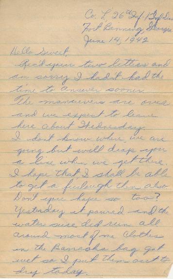 Go to Letter from Joe Olexa to Agnes Van Der Weide, June 14, 1942 item page