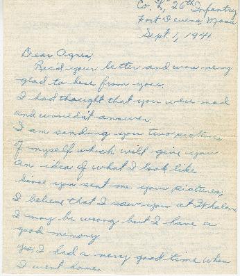 Go to Letter from Joe Olexa to Agnes Van Der Weide, September 1, 1941 item page