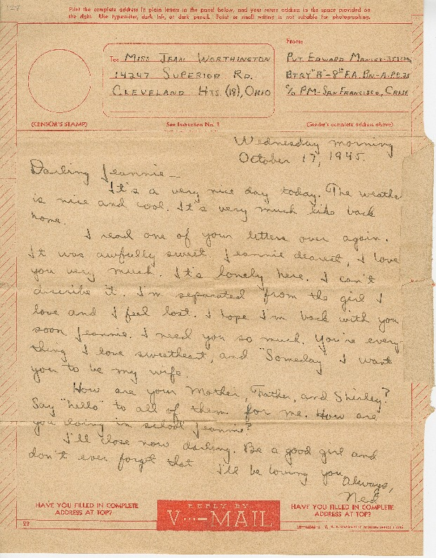 """Go to Letter to Jean Worthington by Edward """"Ned"""" Manley, October 17, 1945. item page"""