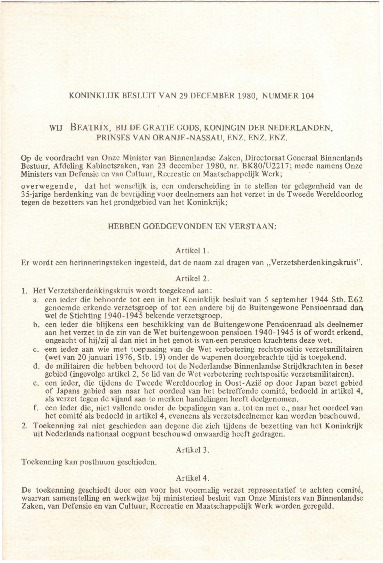 Go to Royal Decision of 29 December 1980, Number 104 item page