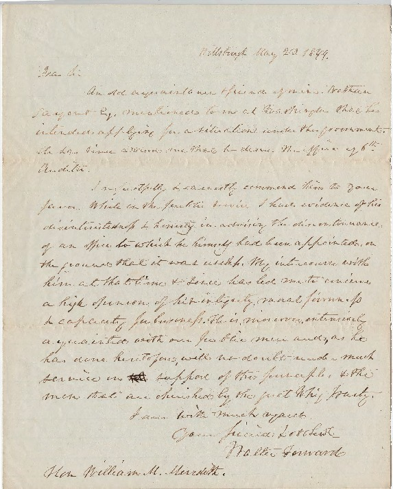 Petition for U.S. Auditor position, May 23, 1844