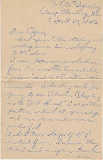 Go to Letter from Joe Olexa to Agnes Van Der Weide, April 22, 1942 item page