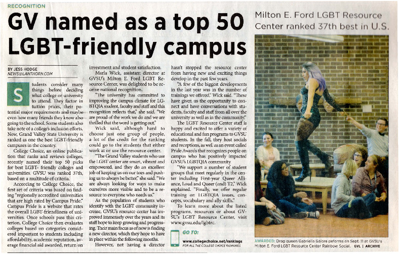 Go to GV named as a top 50 LGBT-friendly campus item page