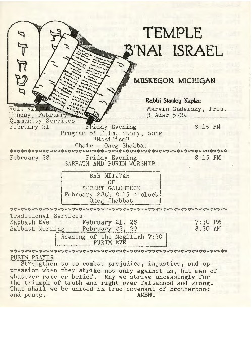 Go to Temple B'nai Israel Bulletin, February 17, 1964 item page