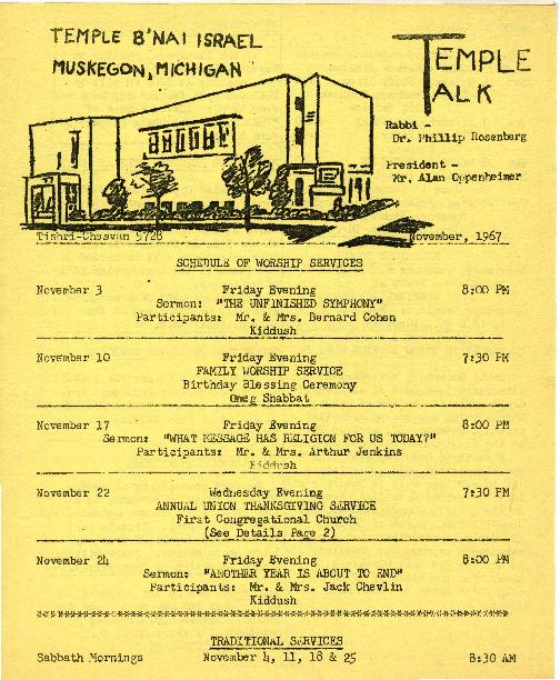 Go to Temple B'nai Israel Bulletin, November 3, 1967 item page