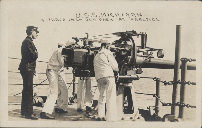 Go to Three Inch Gun Crew at practice on the U.S.S. Michigan item page