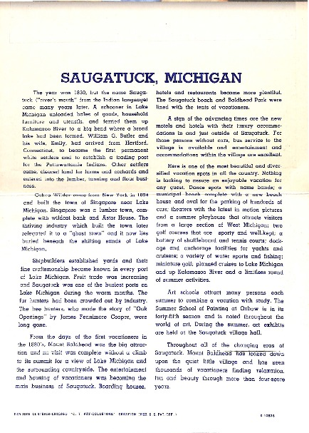 Go to History of Saugatuck, Michigan item page