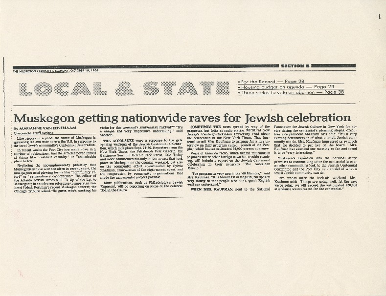 """Muskegon getting nationwide raves for Jewish celebration"""