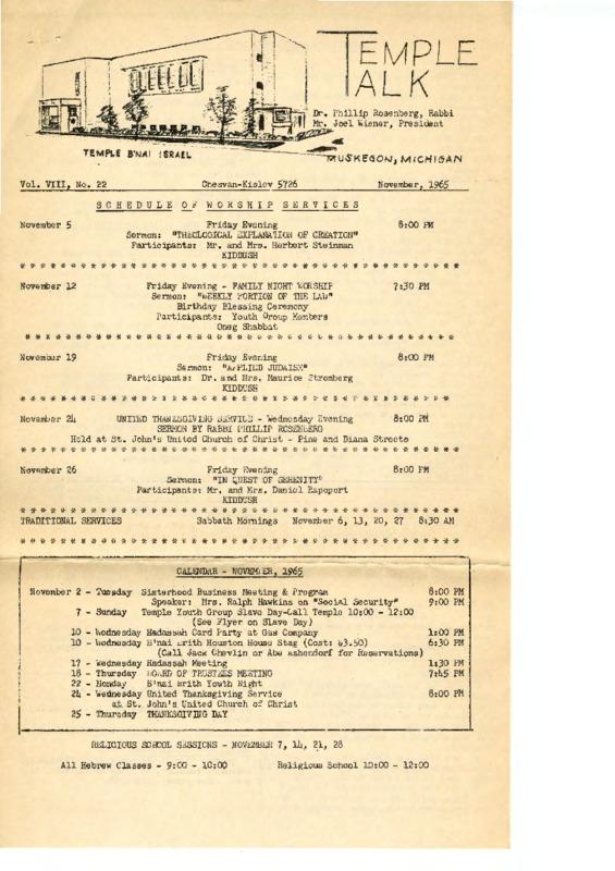 Go to Temple B'nai Israel Bulletin, November 1965 item page