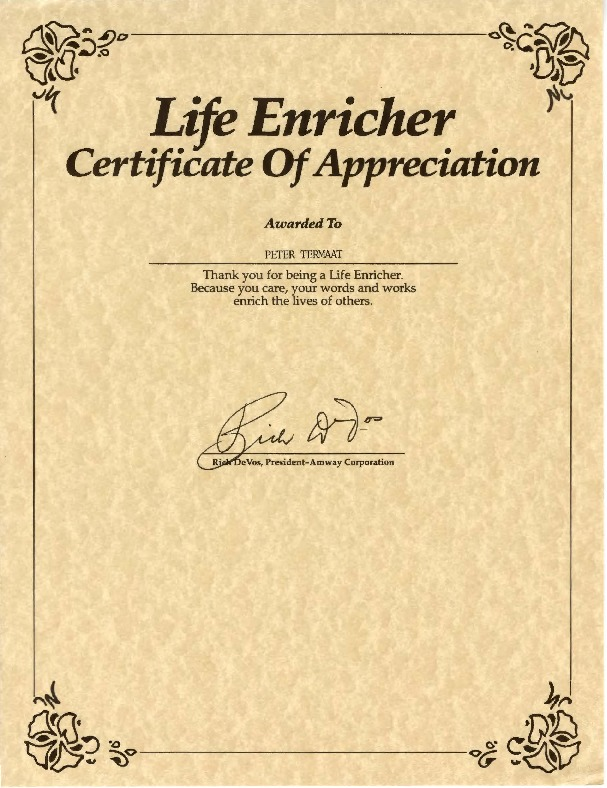 Go to Life Enricher Certificate of Appreciation item page