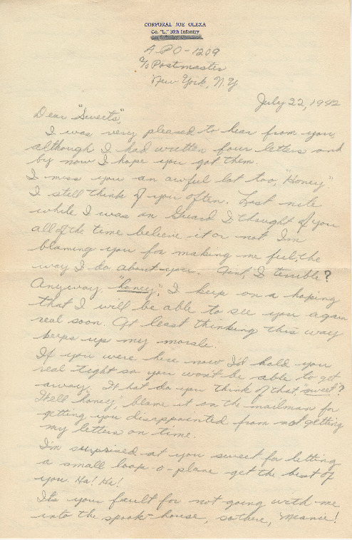 Go to Letter from Joe Olexa to Agnes Van Der Weide, July 22, 1942 item page