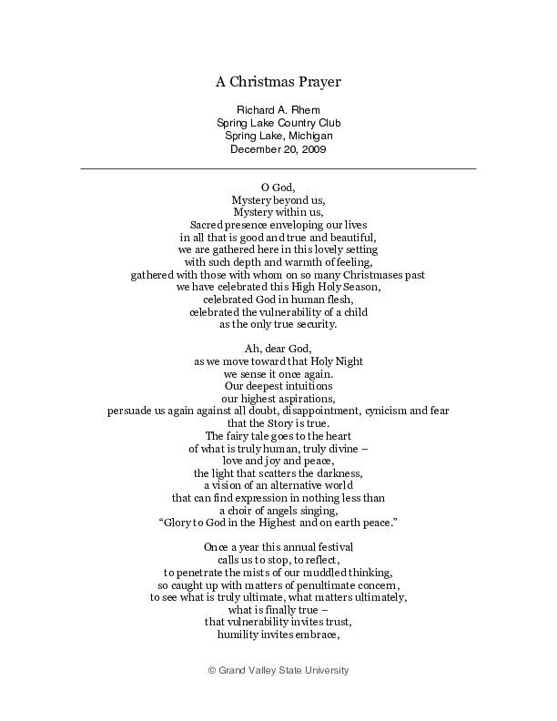 Go to A Christmas Prayer item page