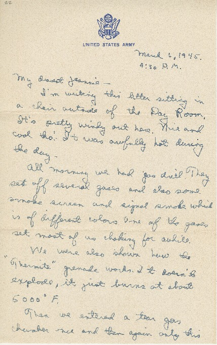 """Go to Letter to Jean Worthington by Edward """"Ned"""" Manley, March 06, 1945. item page"""