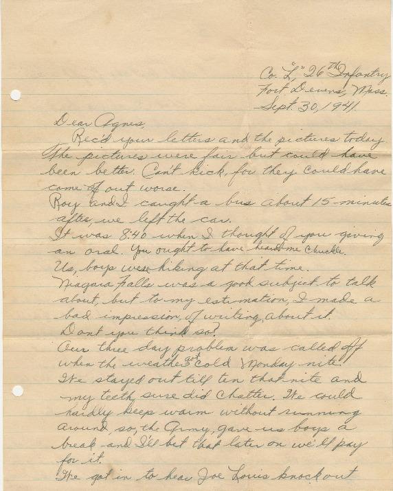 Go to Letter from Joe Olexa to Agnes Van Der Weide, September 30, 1941 item page