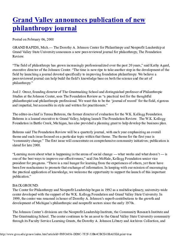 Go to Johnson Center for Philanthropy 2008-02-06 The Foundation Review item page