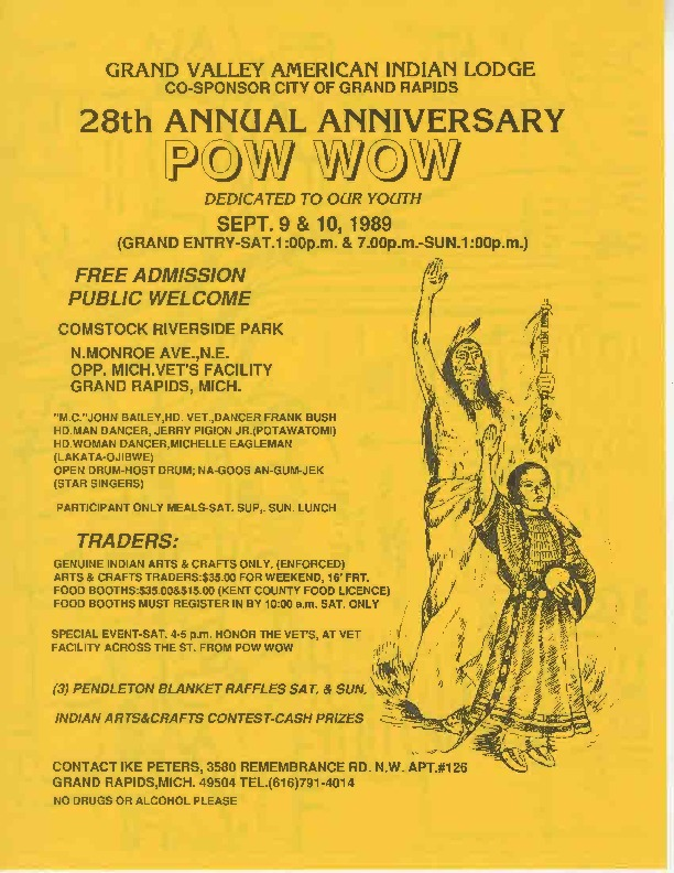 Go to 28th Annual Anniversary Pow Wow, September 1989 item page