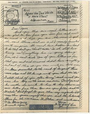 Go to Letter from Joe Olexa to Agnes Van Der Weide, October 3, 1942 item page