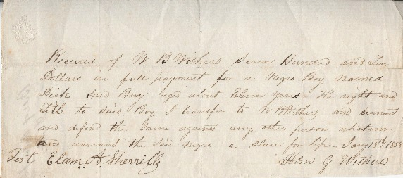 Go to Bill of sale for slave of William B. Withers, January 18, 1858 item page