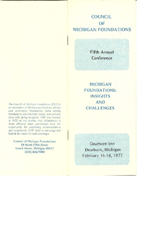 Go to Council of Michigan Foundations 1977 annual conference program item page