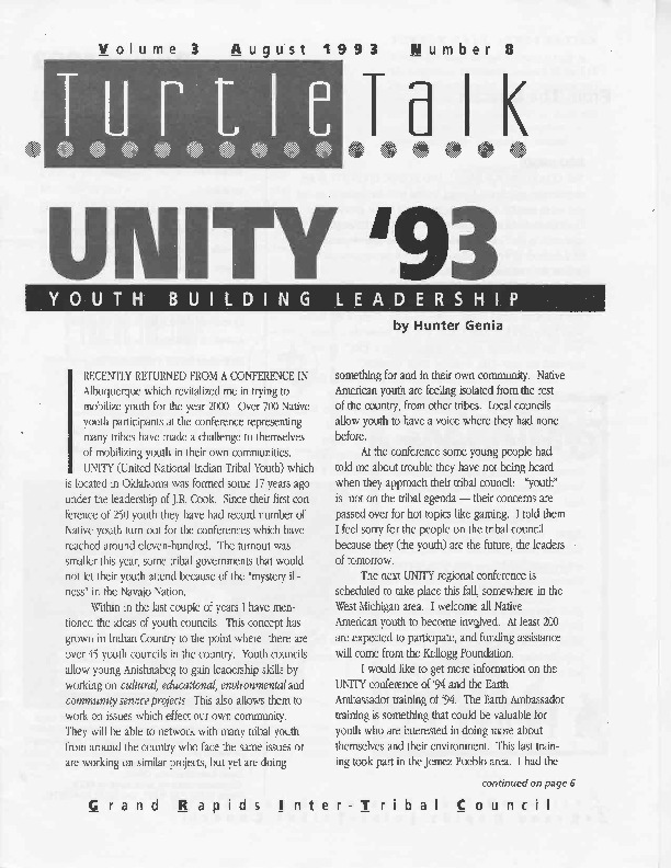 Go to Turtle Talk, Volume 3, August 1993 item page