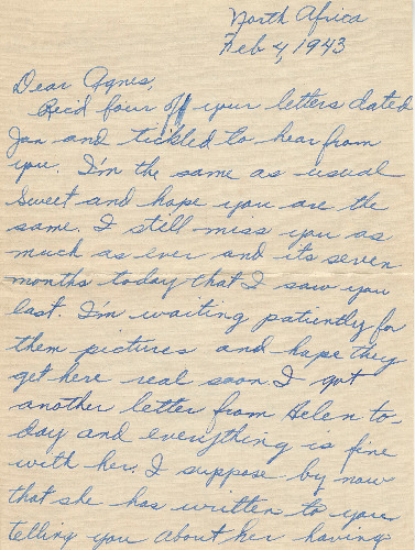 Go to Letter from Joe Olexa to Agnes Van Der Weide, February 4, 1943 item page