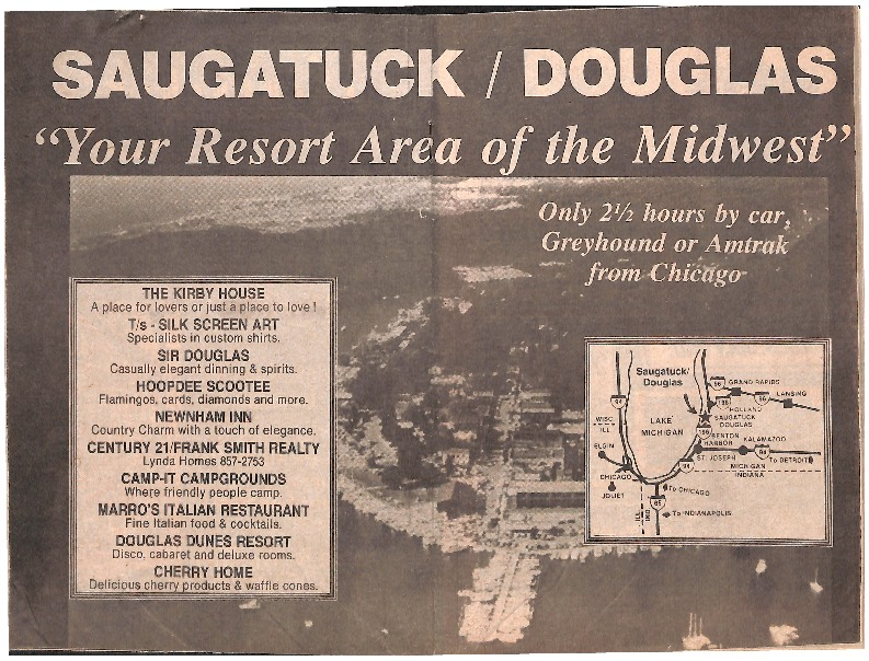 Go to Newspaper advertisement for Saugatuck-Douglas item page