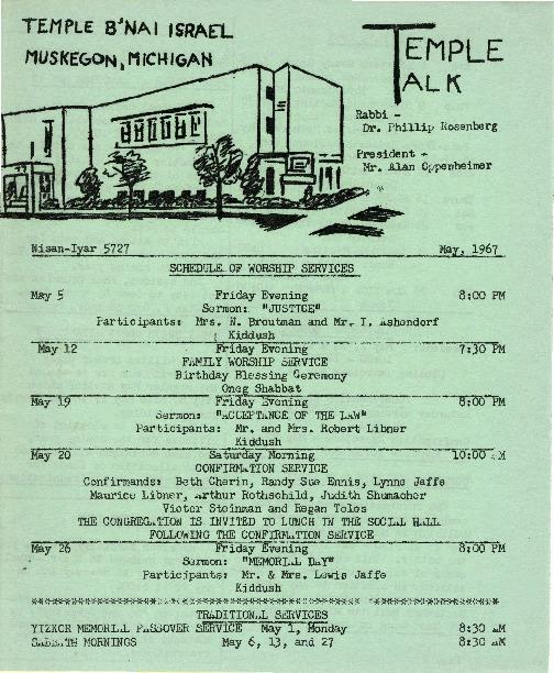 Go to Temple B'nai Israel Bulletin, May 5, 1967 item page