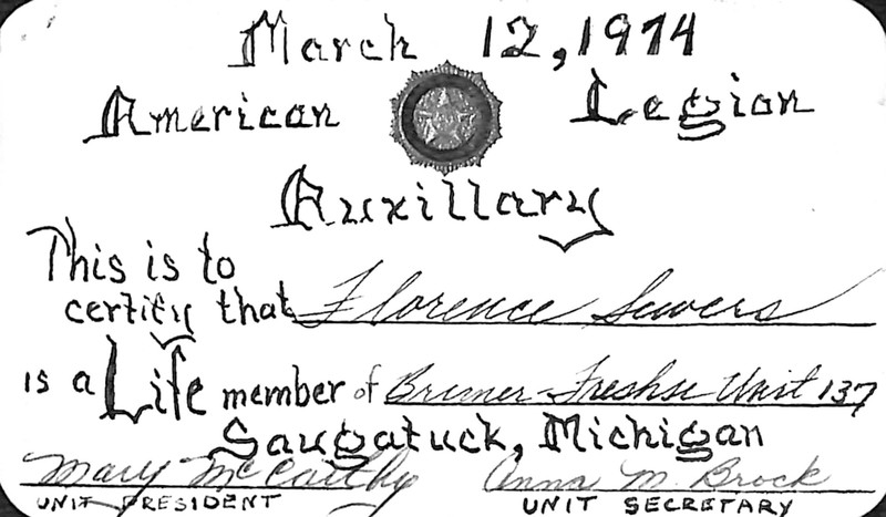 Go to Florence Sewers American Legion Auxiliary membership card copy item page