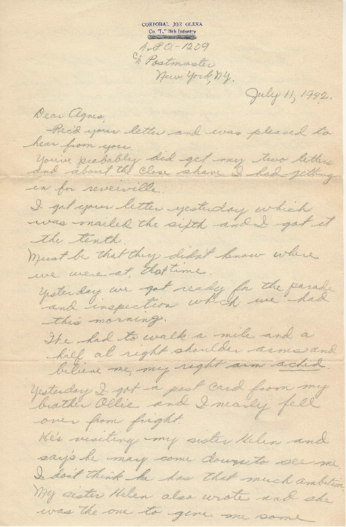 Go to Letter from Joe Olexa to Agnes Van Der Weide, July 11, 1942 item page