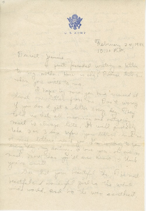 """Go to Letter to Jean Worthington by Edward """"Ned"""" Manley, February 24, 1945. item page"""