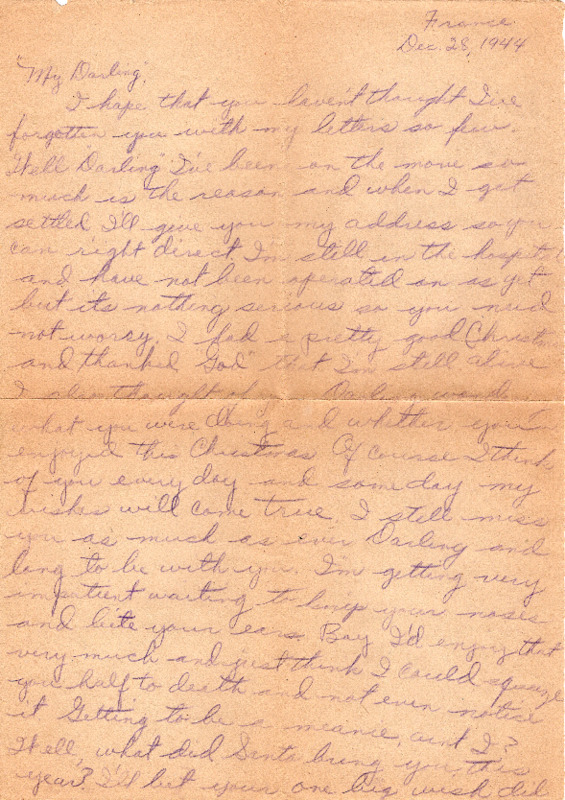 Go to Letter from Joe Olexa to Agnes Van Der Weide, December 28, 1944 item page