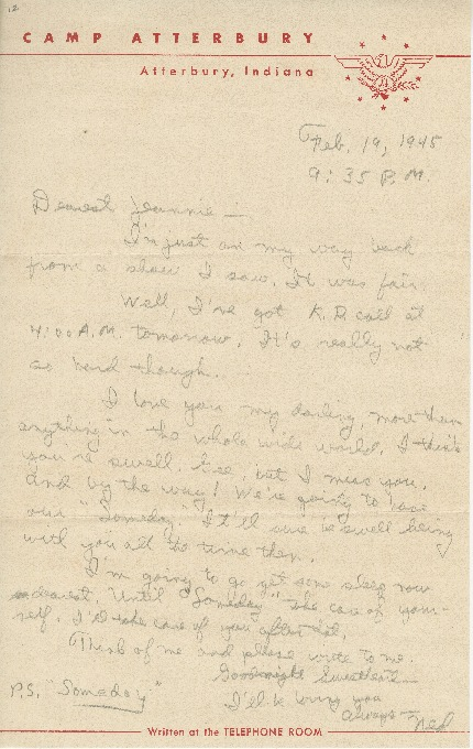 "Letter to Jean Worthington by Edward ""Ned"" Manley, February 19, 1945."