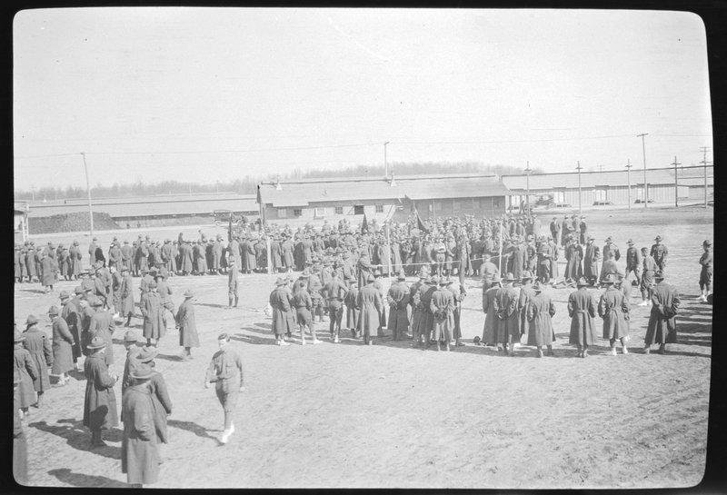 Soldiers watching broad jump at Camp Custer, Michigan