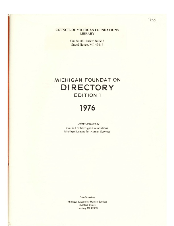 Go to Council of Michigan Foundations 1976 Michigan Foundation Directory e1 excerpts item page