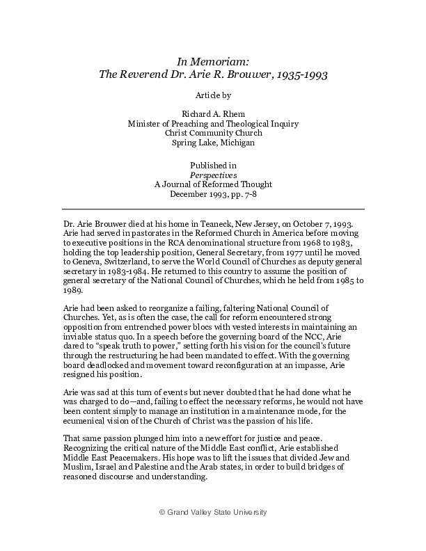 Go to In Memoriam: The Reverend Dr. Arie R. Brouwer, 1935-1993 item page