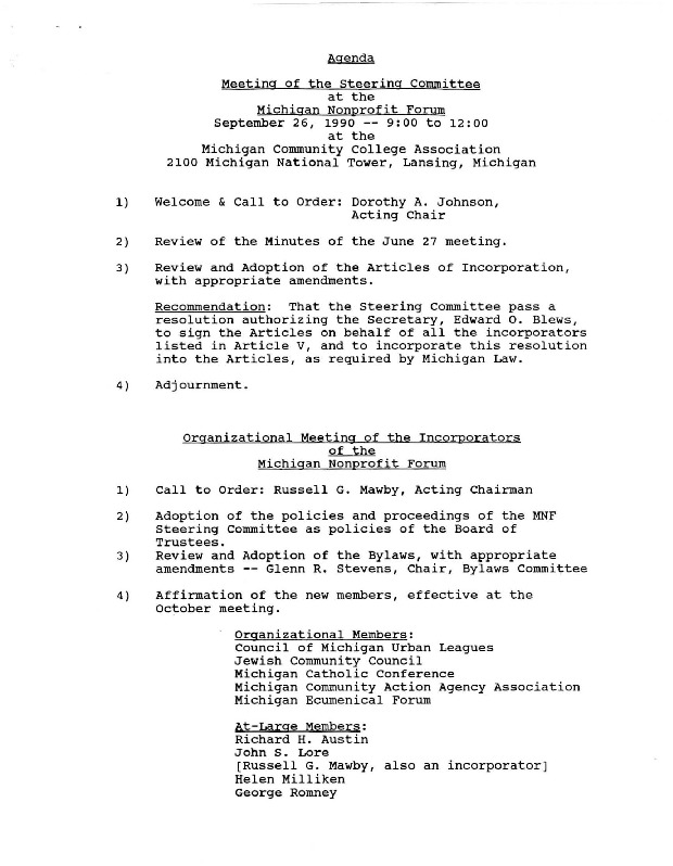 Go to Michigan Nonprofit Forum 1990-09-26 steering committee agenda item page