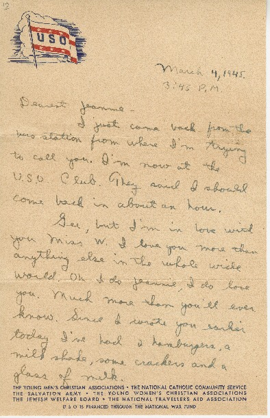 """Go to Letter to Jean Worthington by Edward """"Ned"""" Manley, March 04, 1945. item page"""