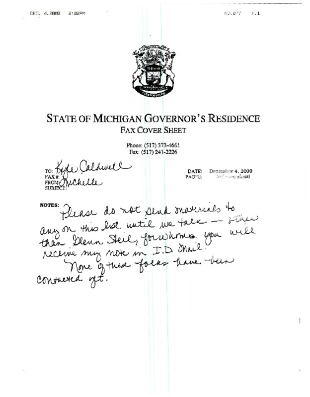 Go to ConnectMichigan Alliance 2000-12-04 letter to Kyle Caldwell from Michelle Engler item page