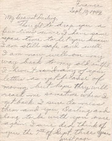 Go to Letter from Joe Olexa to Agnes Van Der Weide, September 10, 1944 item page