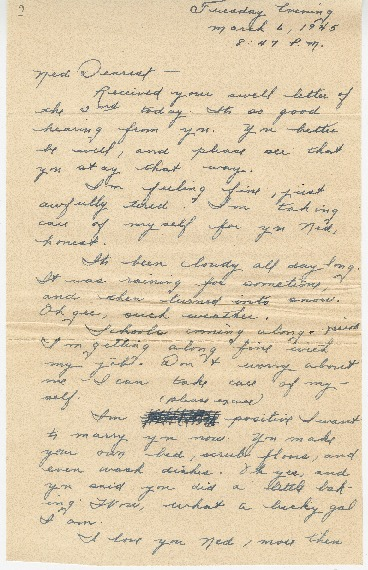 "Go to Letter to Edward ""Ned"" Manley by Jean Worthington, March 06, 1945. item page"