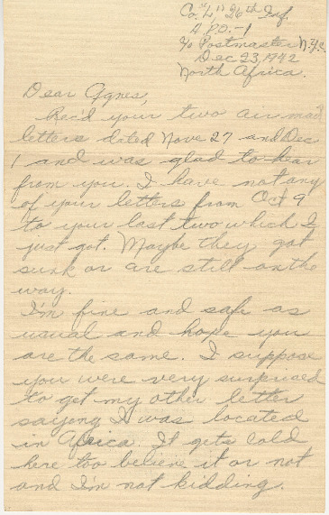 Go to Letter from Joe Olexa to Agnes Van Der Weide, December 23, 1942 item page
