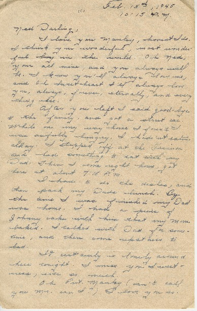"Go to Letter to Edward ""Ned"" Manley by Jean Worthington, February 15, 1945. item page"