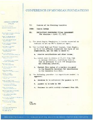 Council of Michigan Foundations 1975-09-16 board book financials