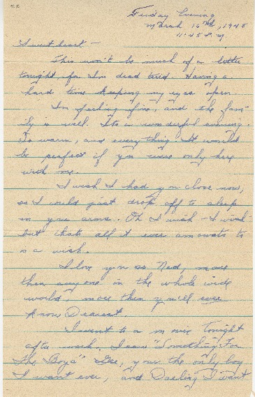 "Go to Letter to Edward ""Ned"" Manley by Jean Worthington, March 16, 1945. item page"