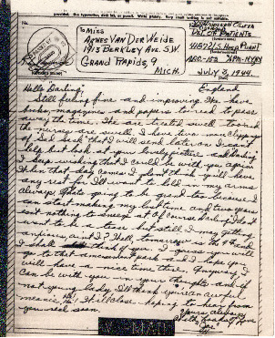 Go to Letter from Joe Olexa to Agnes Van Der Weide, July 3, 1944 item page