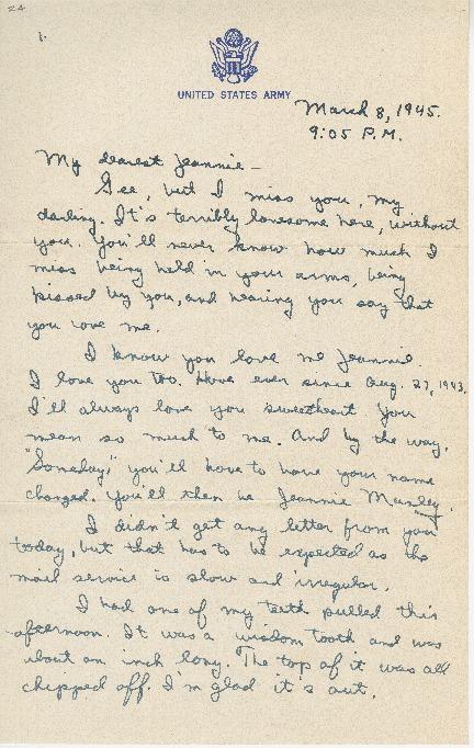"""Go to Letter to Jean Worthington by Edward """"Ned"""" Manley, March 08, 1945. item page"""