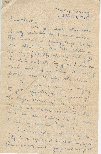 """Go to Letter to Jean Worthington by Edward """"Ned"""" Manley, October 19, 1945. item page"""