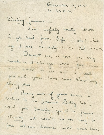 "Go to Letter to Jean Worthington by Edward ""Ned"" Manley, December 04, 1945. item page"