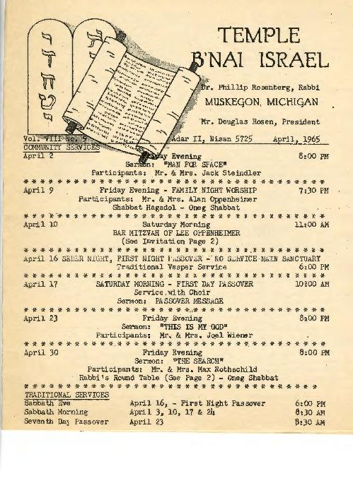 Go to Temple B'nai Israel Bulletin, April 1965 item page
