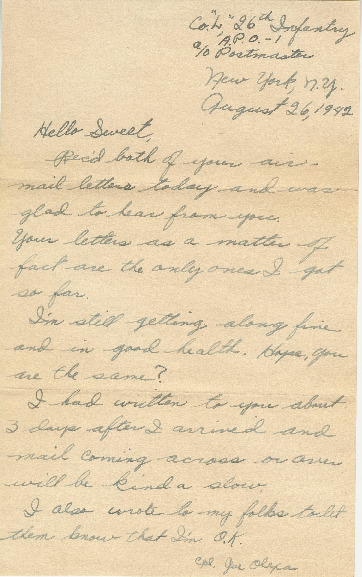 Go to Letter from Joe Olexa to Agnes Van Der Weide, August 26, 1942 item page